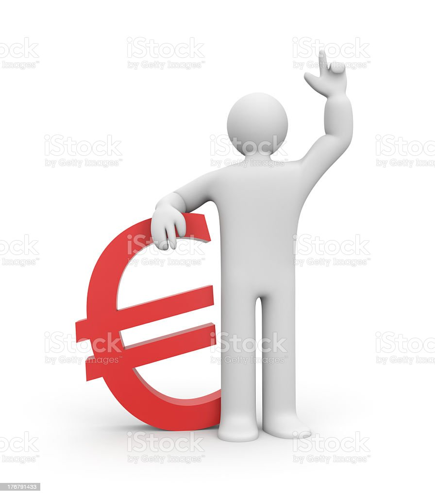 White cartoon man graphic standing next to a Euro money sign royalty-free stock photo