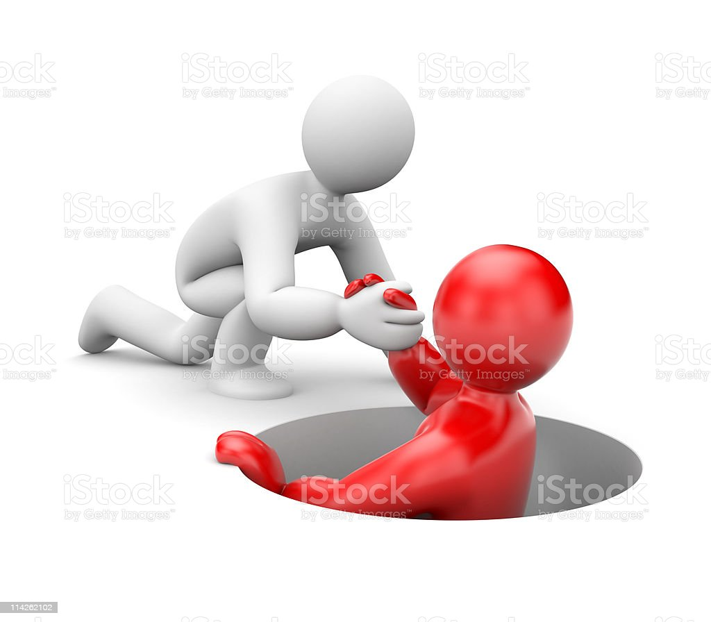 White cartoon man helping red cartoon man up from a hole royalty-free stock photo