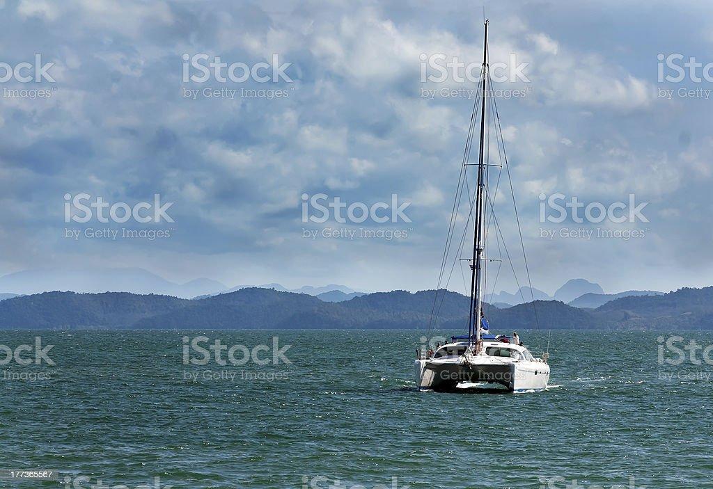 white catamaran royalty-free stock photo