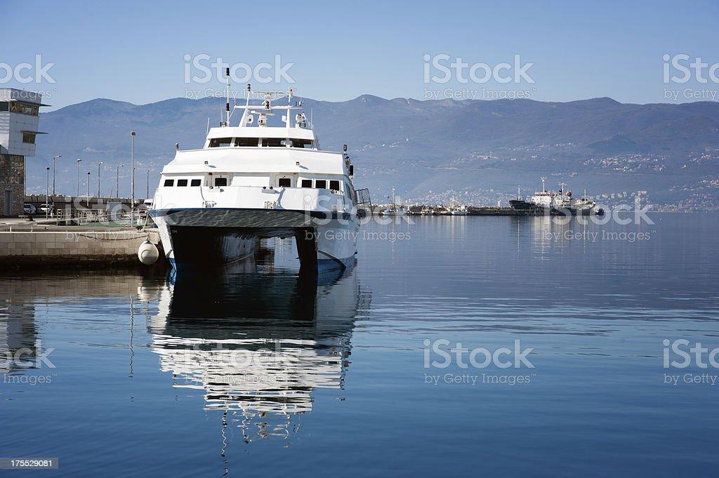 White Catamaran Ship stock photo
