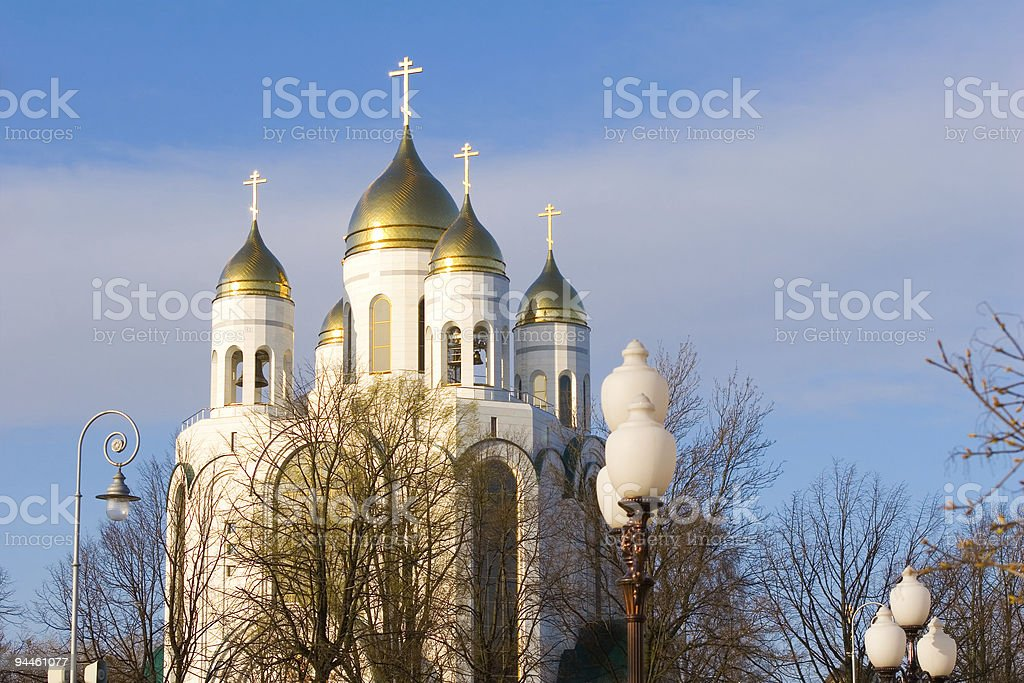 White cathedral orthodox church in the center of Kaliningrad, Russia stock photo