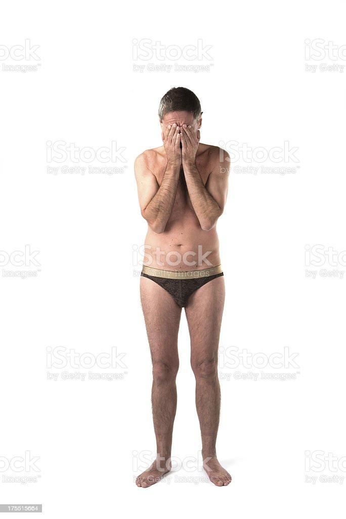 White caucasian man semi nude royalty-free stock photo