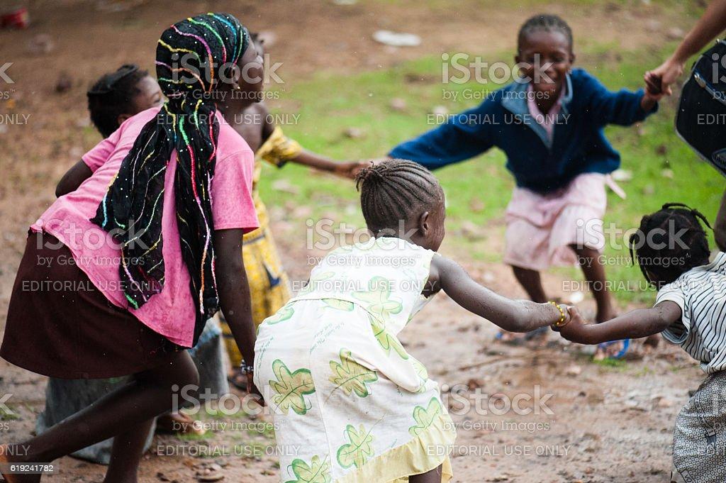 White caucasian people and black african people enjoying life stock photo