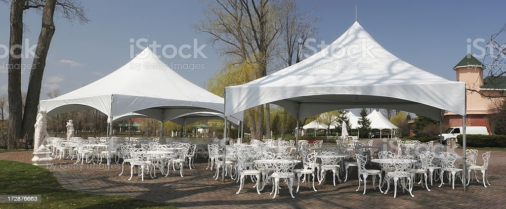 White celebration Tents and furnitures stock photo