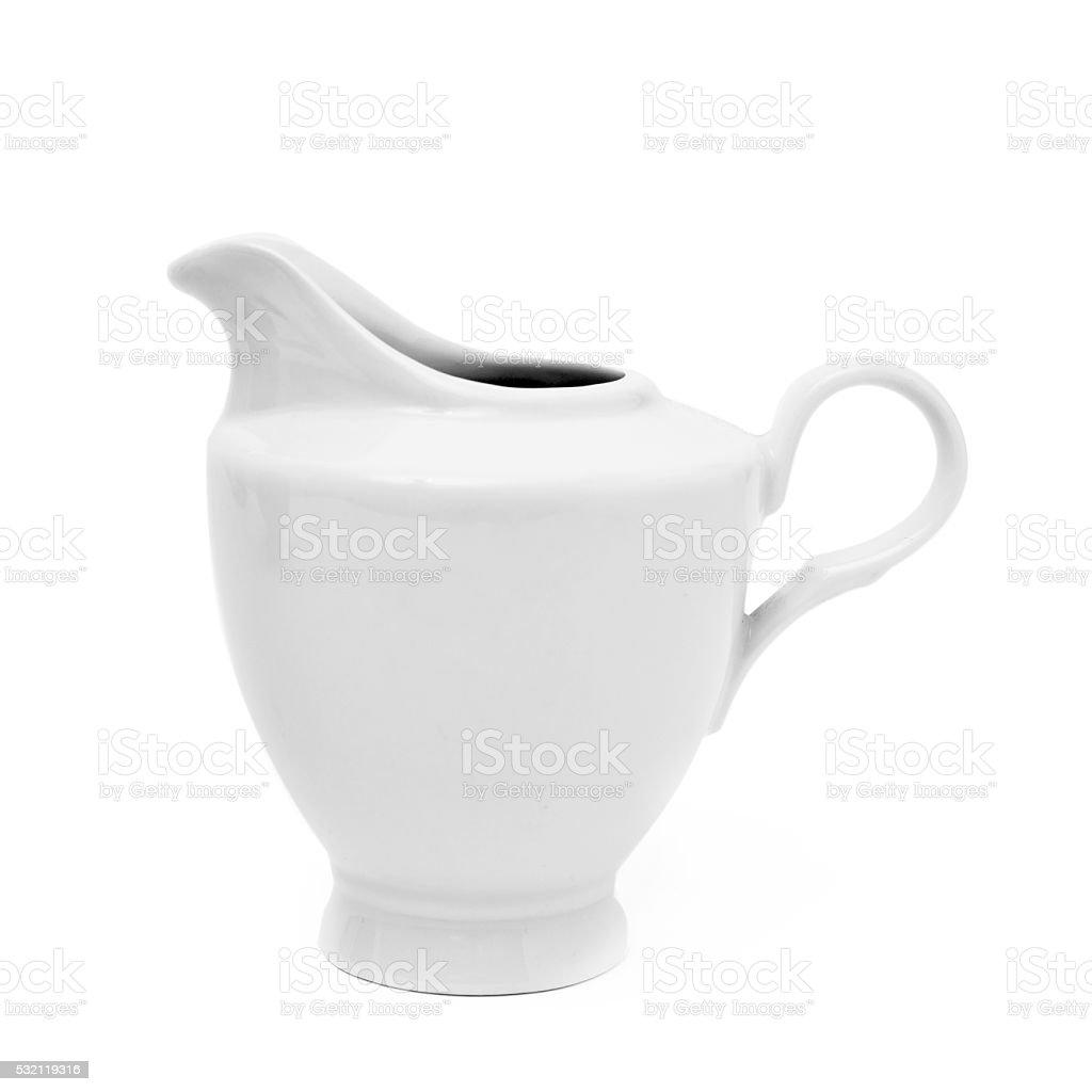 white ceramic creamer or saucier stock photo
