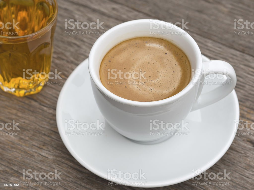 White ceramic Cup of coffee and tea glass royalty-free stock photo