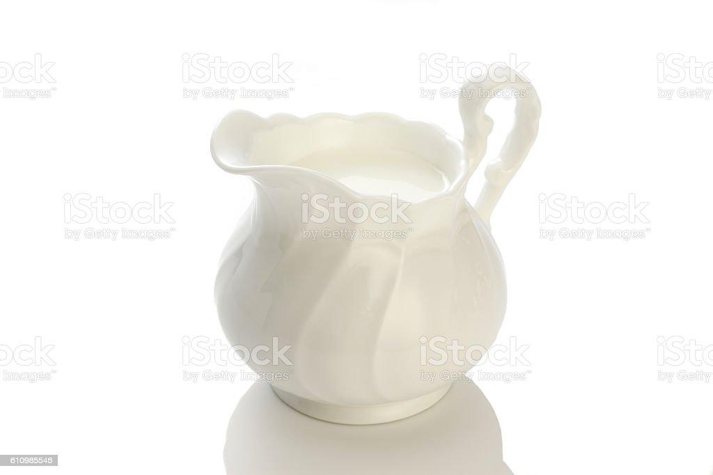 white ceramic milk pot stock photo