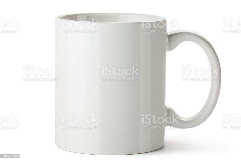 White ceramic mug stock photo