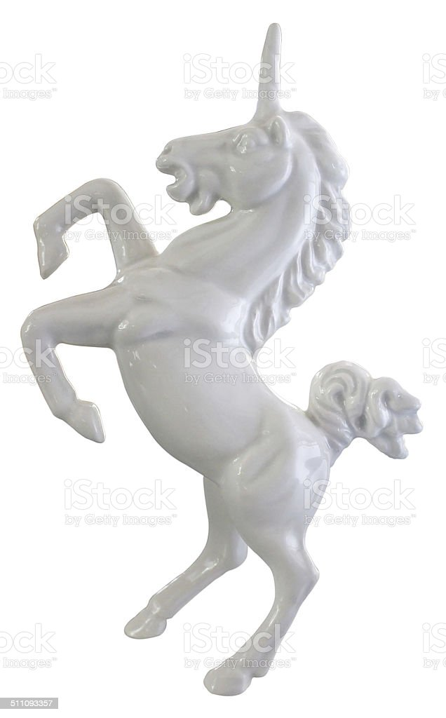 White Ceramic Unicorn stock photo