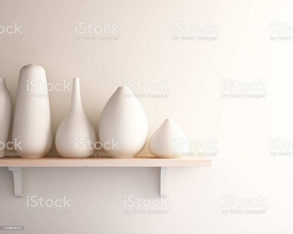 white ceramic vase on wood shelf stock photo