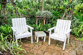 White chair and table relaxation in garden