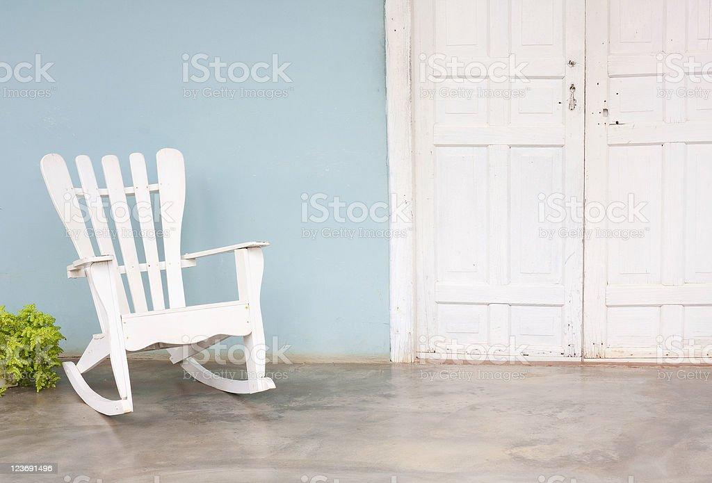 White chair on veranda stock photo