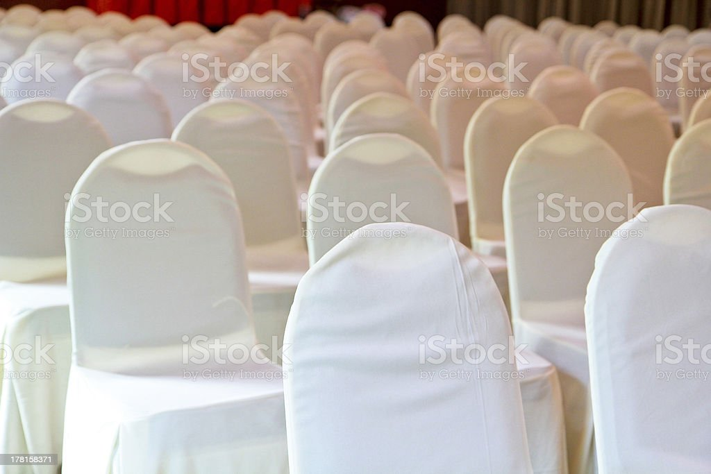 white chairs for the wedding guests royalty-free stock photo