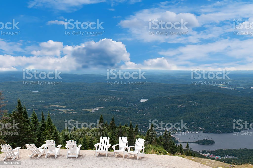 White chairs on top of mountain stock photo