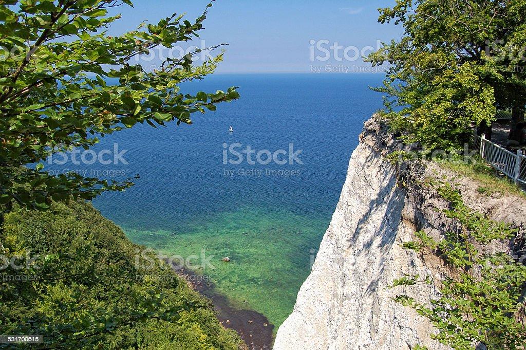 white chalk rocks of Rugen island (Germany) in springtime stock photo
