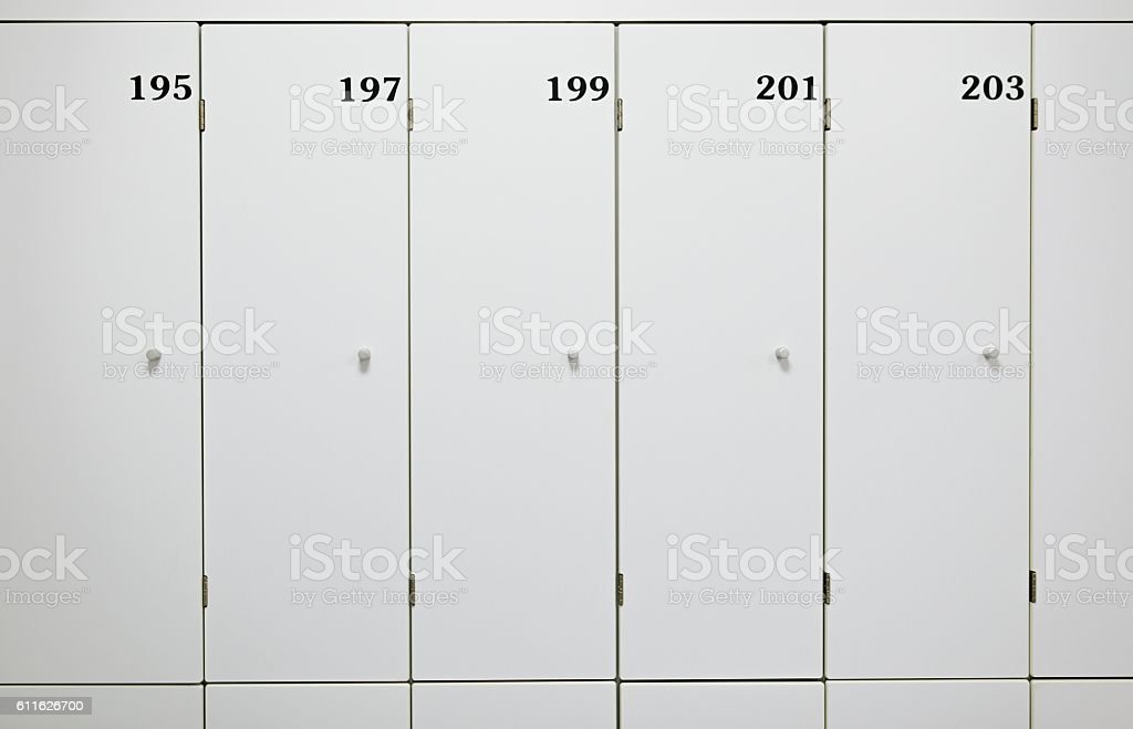 Close up on white change room lockers