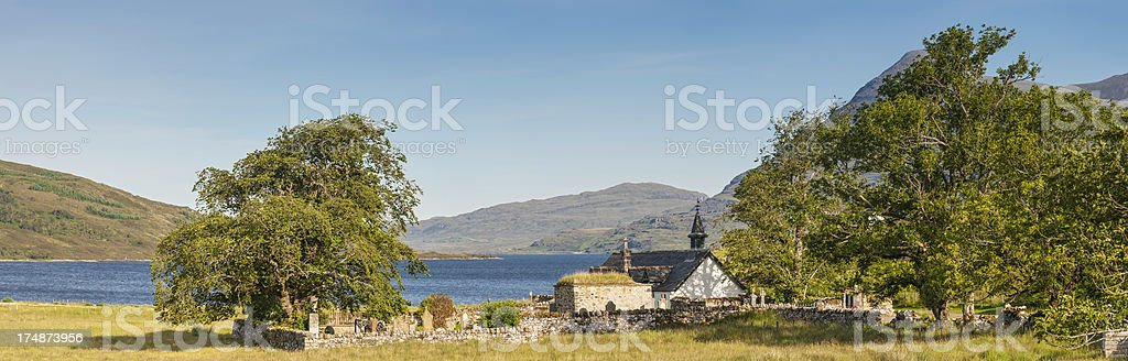 White chapel in idyllic Highland glen Scotland royalty-free stock photo