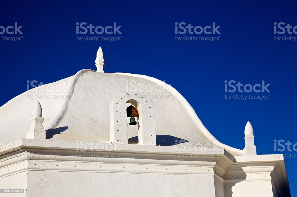 White chapel roof in Portugal, Ericeira stock photo
