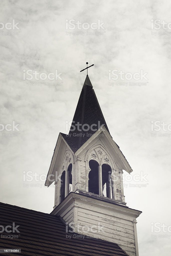 White chapel steeple royalty-free stock photo