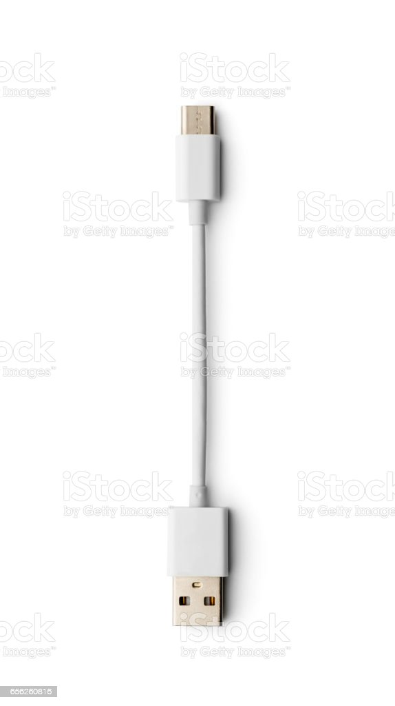 White charging cable for modern smartphone isolated on white stock photo