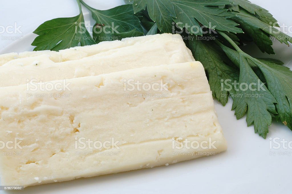 White Cheese and Parsley stock photo