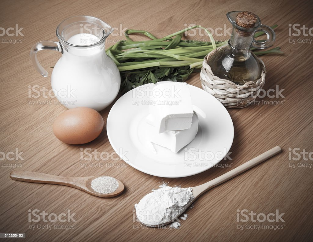 White cheese, milk, egg, olive oil, green onion and spices stock photo