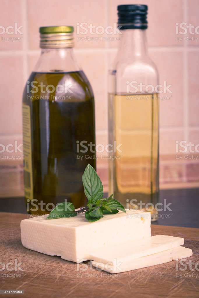 White cheese with kinds of oil royalty-free stock photo