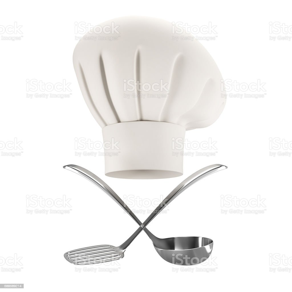 white chef hat with soup ladle and spatula stock photo