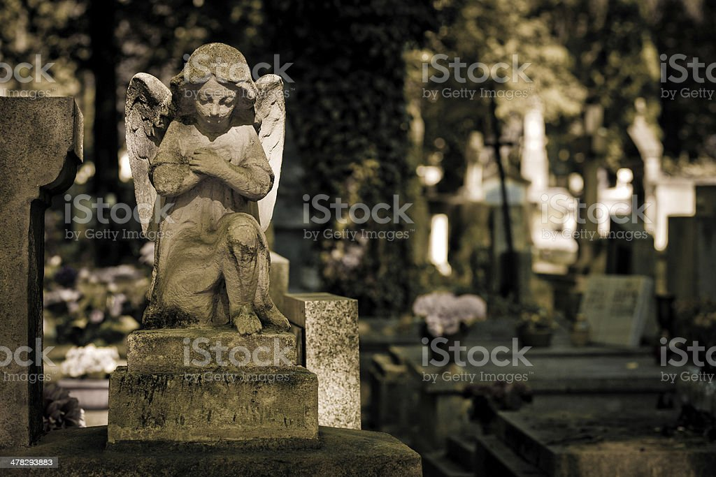 White cherub with cemetery background royalty-free stock photo