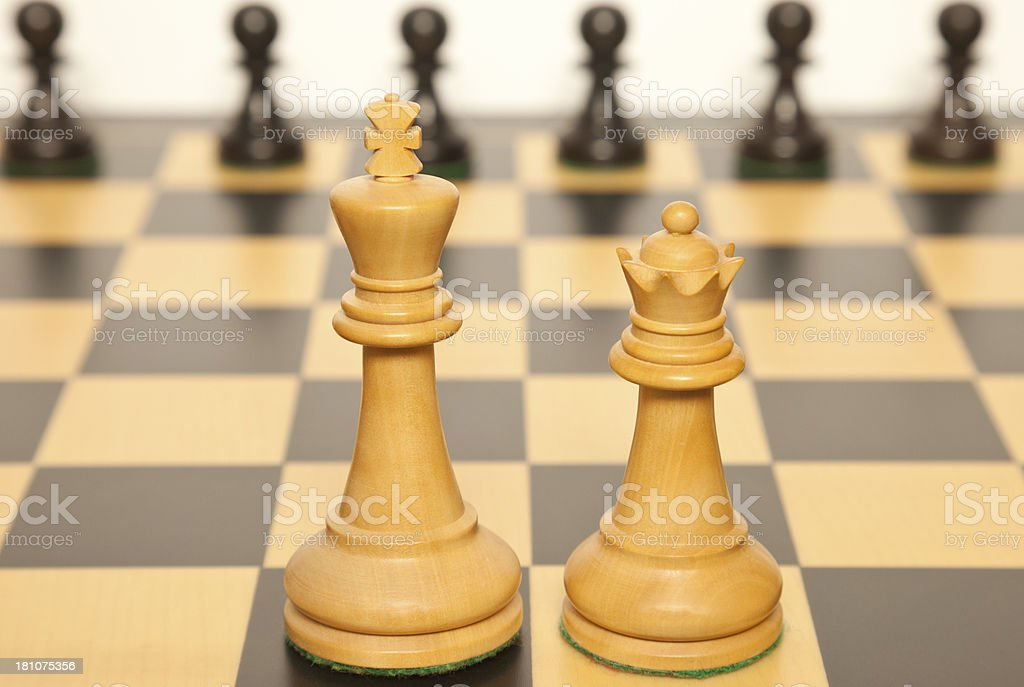White Chess King and Queen royalty-free stock photo