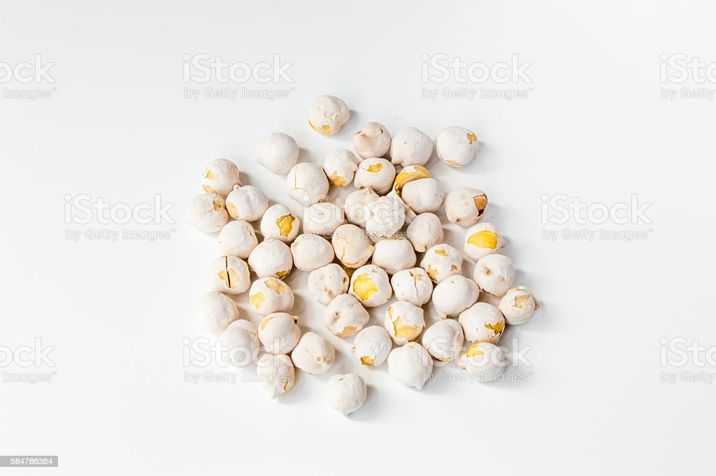 White chickpeas on white background stock photo