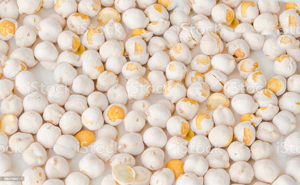 White chickpeas on white background stock photo