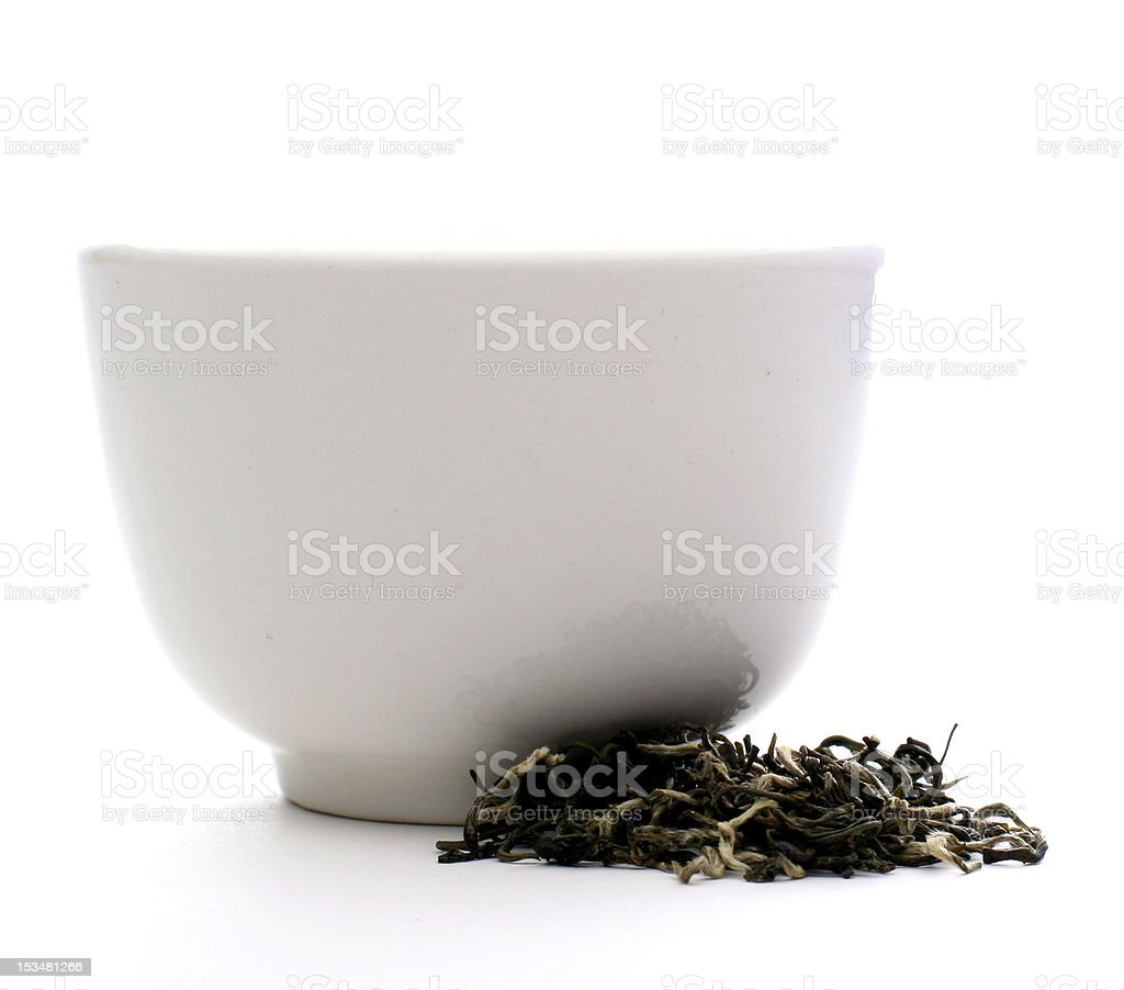 White Chinese Teacup with Green Tea Besides royalty-free stock photo