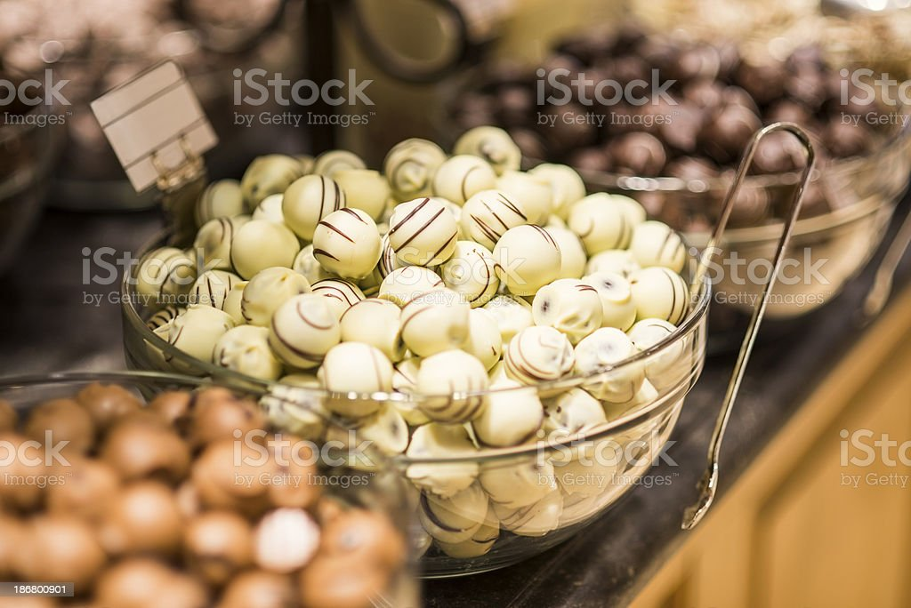 White chocolate candy in store royalty-free stock photo