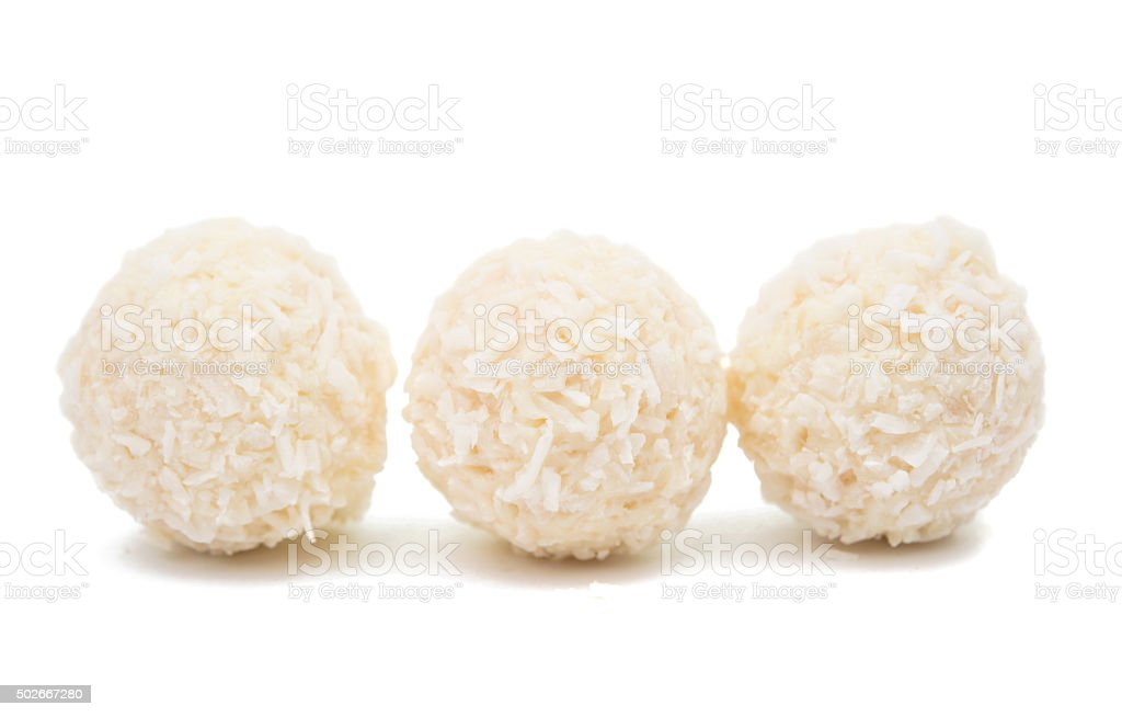White Chocolate Candy With Coconut Topping stock photo