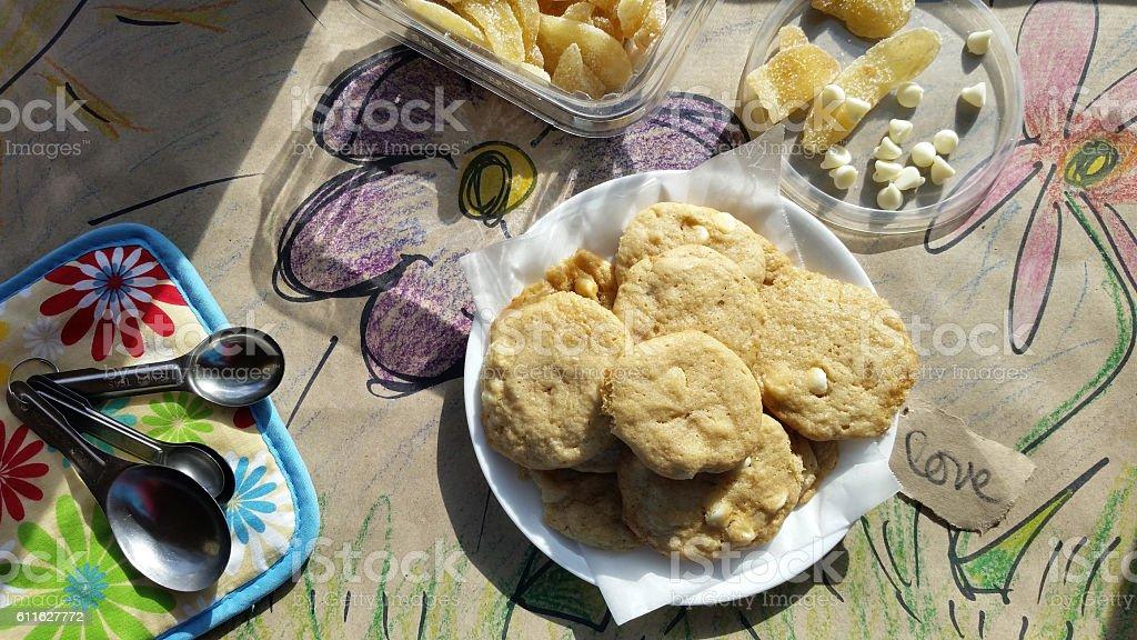 White Chocolate Chip Cookies stock photo