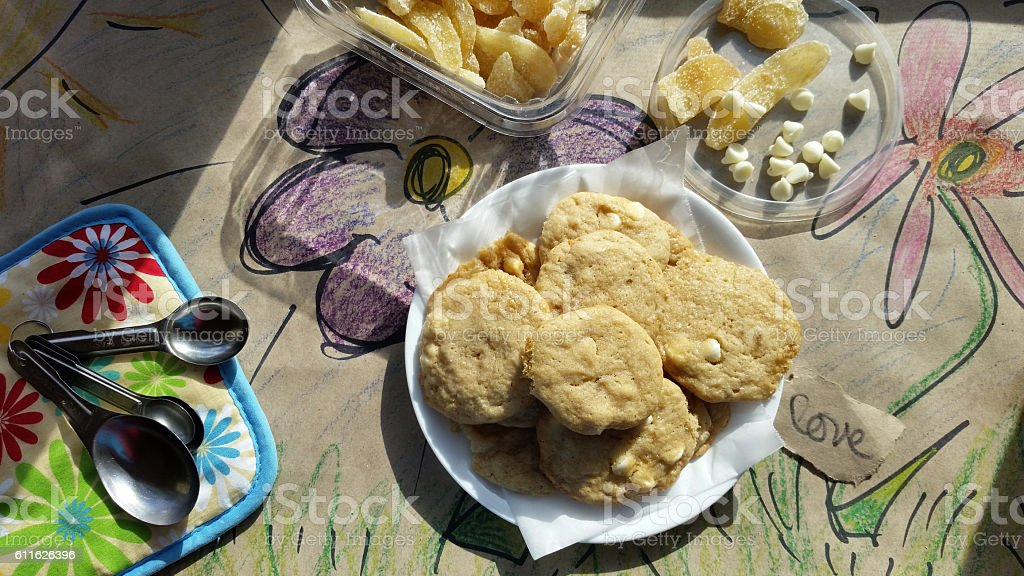 White Chocolate Chip Ginger Cookies stock photo