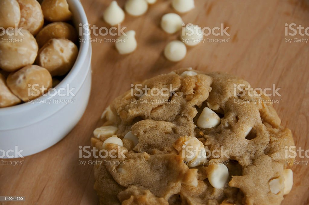 White Chocolate Chip - Macadamia Nut Cookie royalty-free stock photo