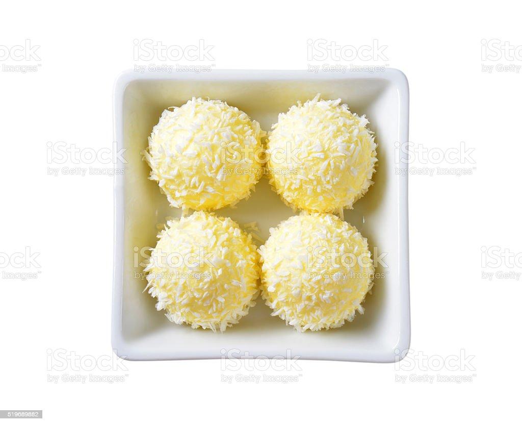 White Chocolate Coconut Truffles stock photo