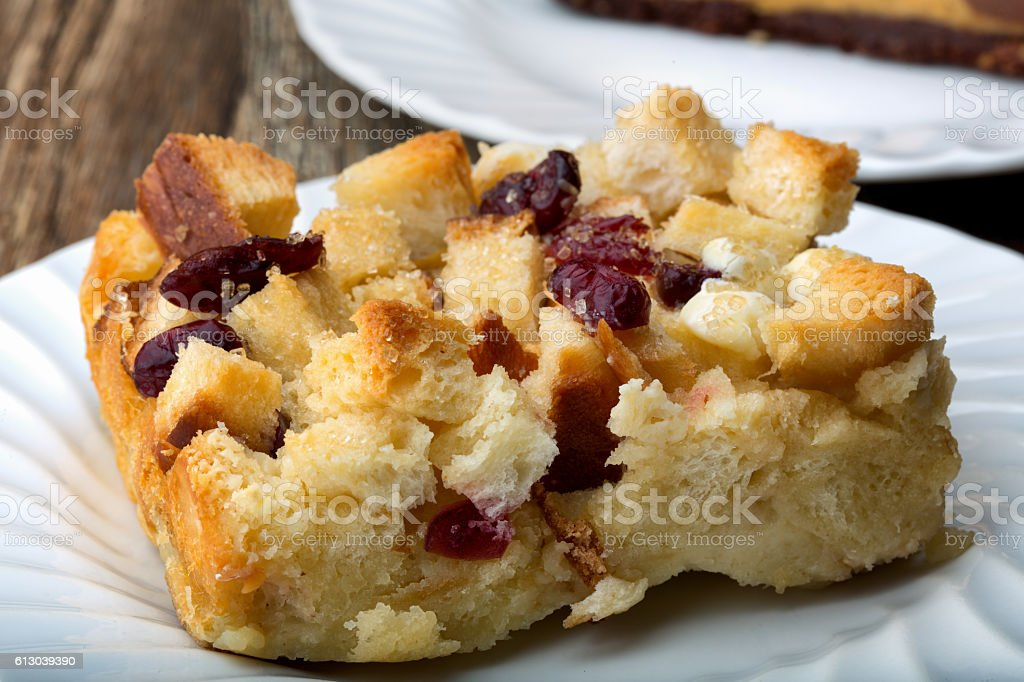 White Chocolate Cranberry Bread Pudding stock photo