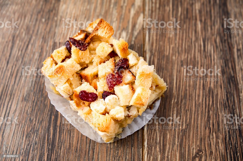 White Chocolate Cranberry Bread Pudding stock photo