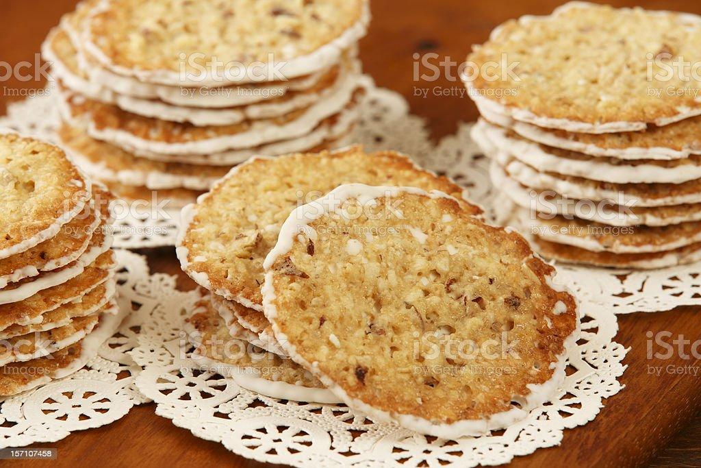 White Chocolate Honey Almond Florentine Cookies royalty-free stock photo