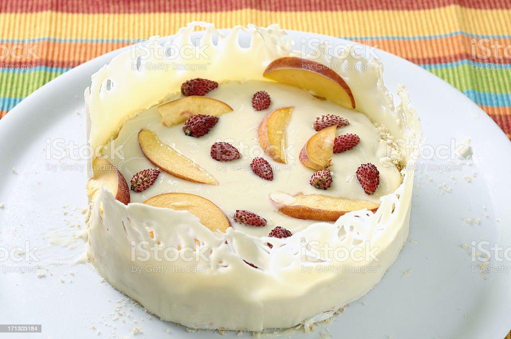 White chocolate parfait with peaches and strawberries stock photo