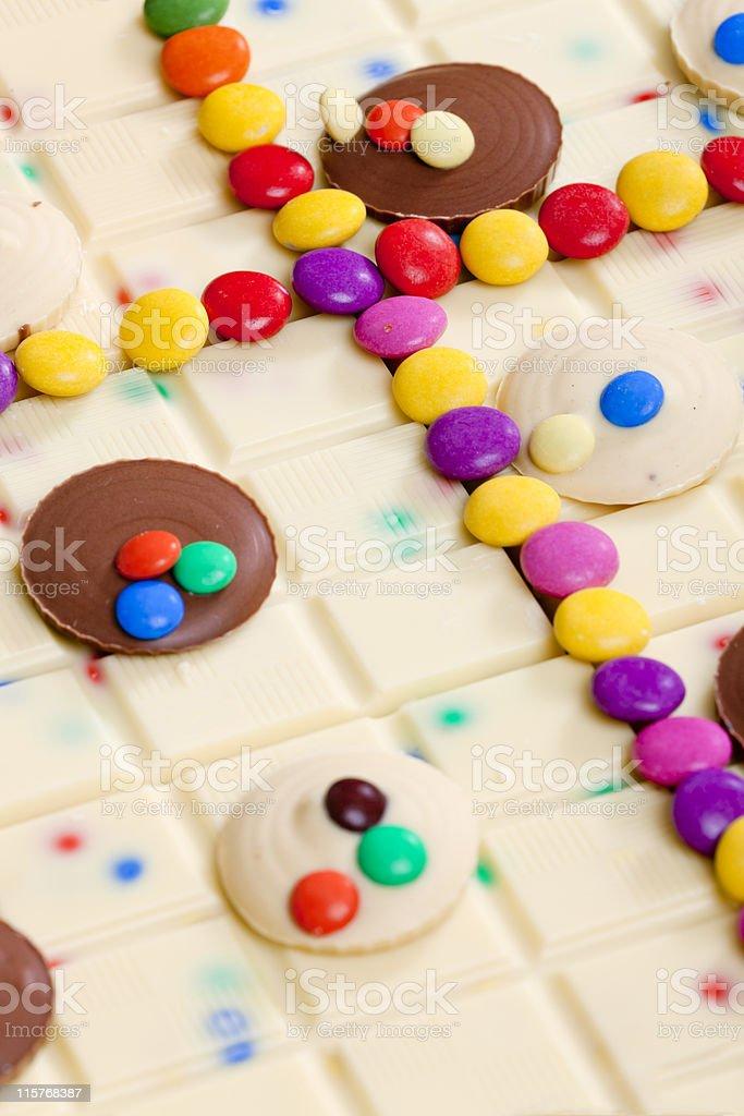 white chocolate with smarties stock photo