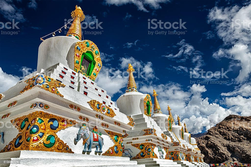 White chortens stupas in Ladakh, India stock photo