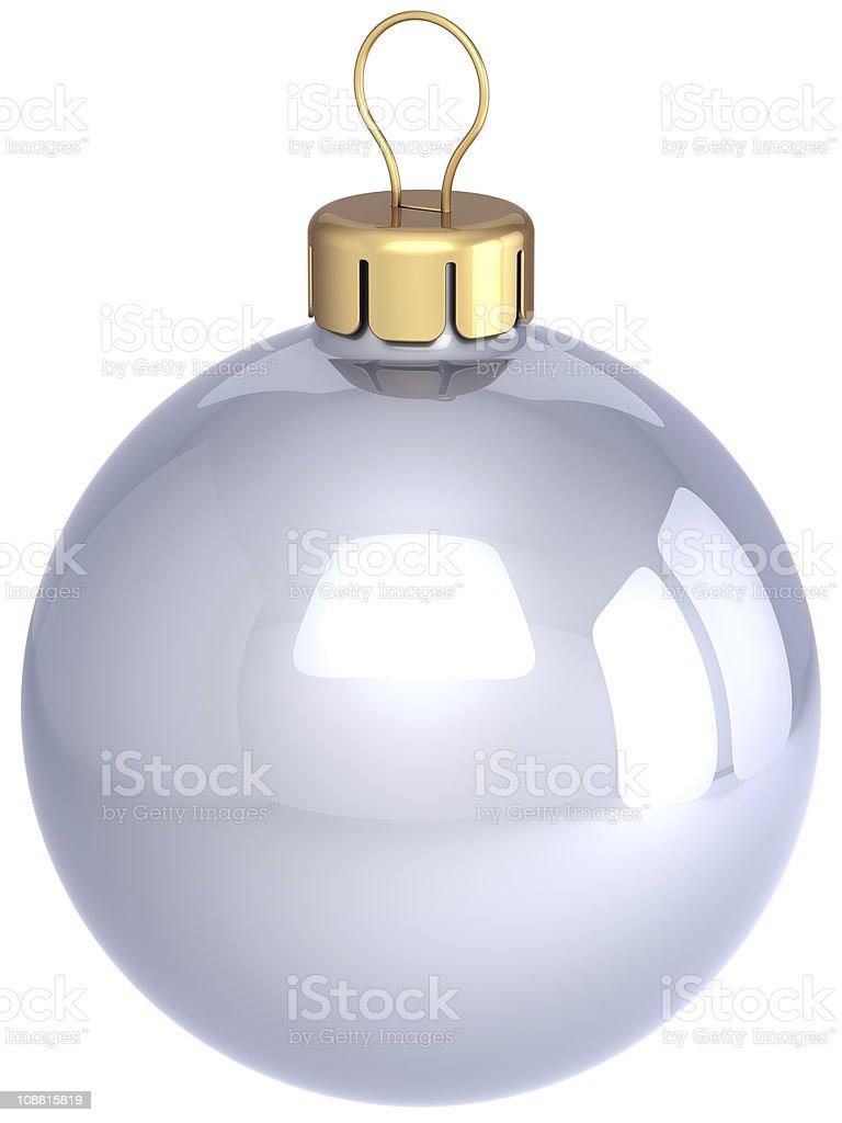 White Christmas ball classic silver Xmas decoration royalty-free stock photo