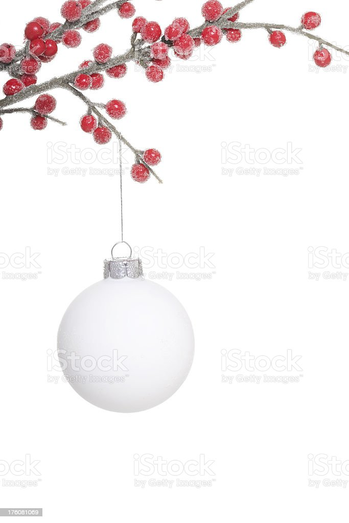 White Christmas Ball with berries royalty-free stock photo