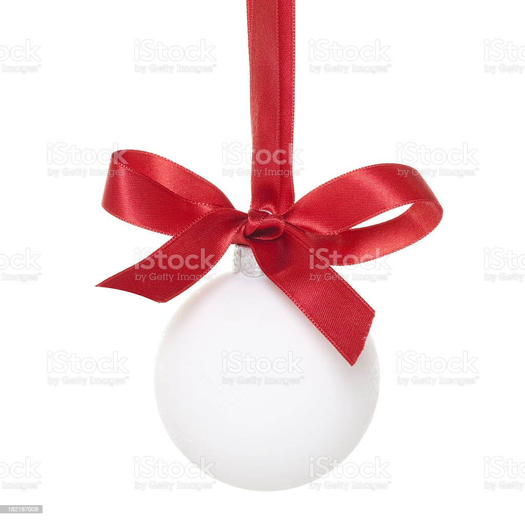 White Christmas Ball with red Ribbon royalty-free stock photo