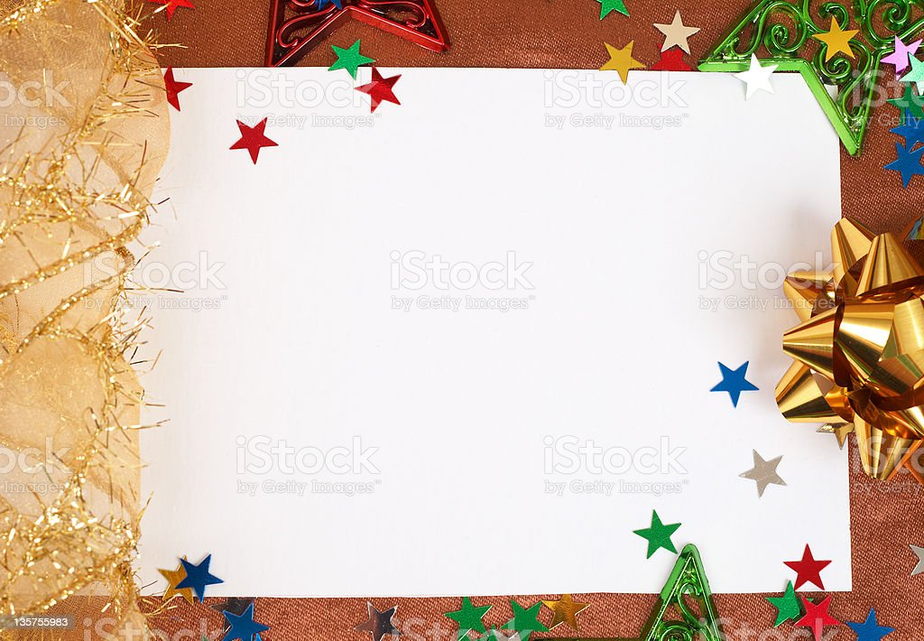 White Christmas card with decorations royalty-free stock photo