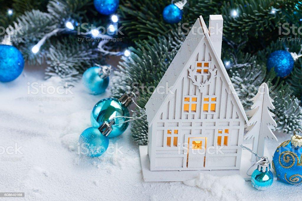 White christmas house stock photo